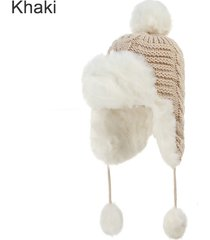2017 new women bomber hats pompom fleece earflaps cap faux fur ball winter hat