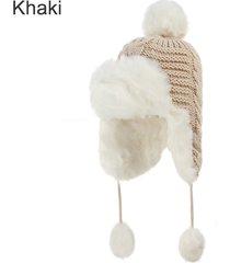 2017 new women bomber hats pompom fleece earflaps cap faux fur ball winter hat