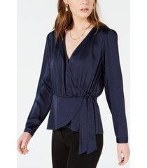 bar iii faux-wrap tie-waist top, created for macy's