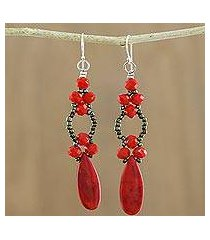 beaded dangle earrings, 'exciting adventure in red' (thailand)