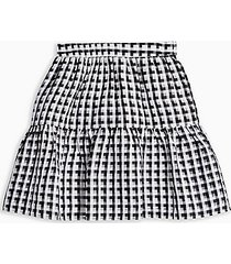 black and white sheer check mini skirt - monochrome