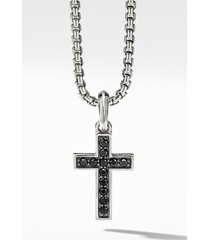 men's david yurman cross pendant with pave black diamonds