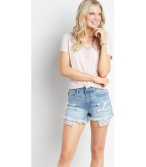 kancan™ womens high rise floral pocket fray hem 3.5in shorts blue - maurices
