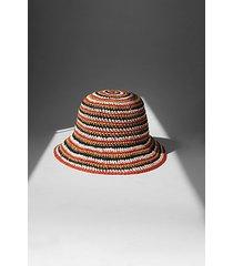 multi stripe straw bucket hat - multi
