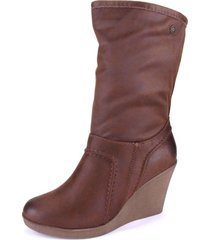 botin caña alta wedge marron chalada