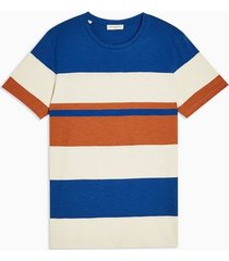 mens selected homme blue stripe organic cotton t-shirt