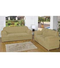 capa de sofá brastuca 2 peças 21 elásticos bege