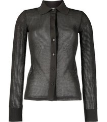 mesh sheer button down shirt