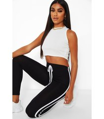 contrast double stripe jersey legging, black