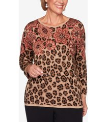 alfred dunner petite catwalk floral animal-print jacquard sweater