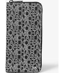 mk portafoglio zip-around con logo grafico - nero/bianco (nero) - michael kors