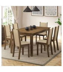 conjunto sala de jantar madesa miriam mesa tampo de madeira com 6 cadeiras rustic/crema/pérola