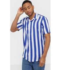 only & sons onscarter ss striped viscose shirt skjortor mörk lila