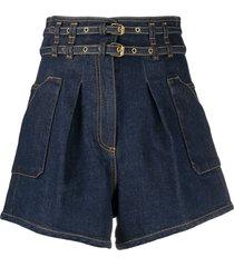 philosophy di lorenzo serafini dark blue stretch-cotton denim shorts