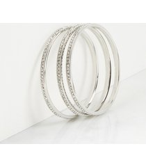 lane bryant women's 3-row faceted stone bangle bracelets onesz silver tone