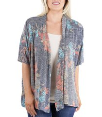women's short sleeve open floral cardigan