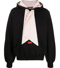 gcds scarf detail logo patch hoodie - black