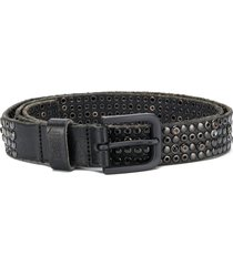 diesel studded raw edge belt - black