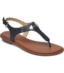 mk plate thong shoes summer shoes flat sandals svart michael kors