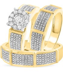 14k yellow gold finish round lab-created diamond women's bridal groom trio ring