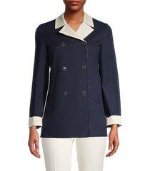 loro piana women's caleb double-breasted jacket - spring navy - size 40 (6)