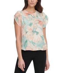 dkny floral-print flutter-sleeve blouse