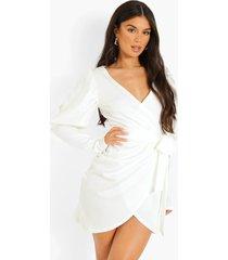 scuba blazer jurk met strik en pofmouwen, white