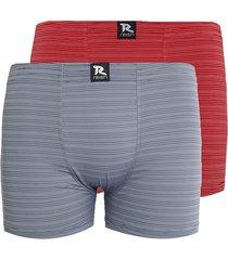 kit com 2 cuecas linha noite boxer microfibra vermelho / cinza