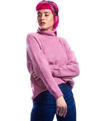 sueter rosa cuello vuelto alto para dama