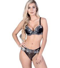 conjunto yasmin lingerie chic 15 preto/prata - prata - feminino - dafiti