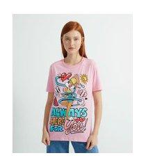 blusa fit t-shirt manga curta estampa lola bunny   lola bunny   rosa   p