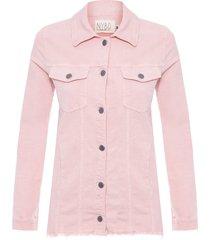 jaqueta feminina veludo desfiada - rosa