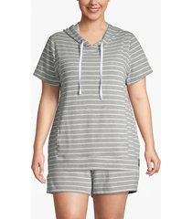 lane bryant women's active seamed dolman sleeve hoodie 26/28 gray stripe