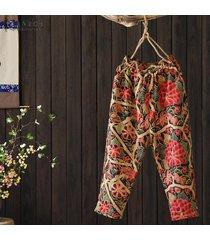 zanzea mujeres del verano de los pantalones ocasionales de capris de las señoras de bohemia pantalones florales del vintage -rojo