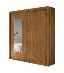 guarda roupa solteiro c/ espelho 2 portas 3 gavetas apoena móveis lopas marrom
