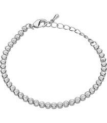 bracciale in metallo rodiato e cristalli per donna