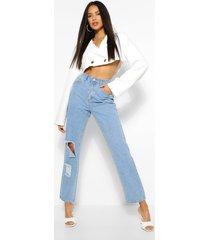 high rise oversized gescheurde jeans met rechte pijpen
