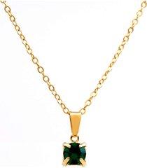 gargantilha horus import ponto luz banhado ouro amarelo 18 k - 1060158 - verde esmeralda - tricae