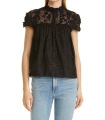 women's alice + olivia ilaria crochet yoke blouse, size large - black