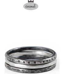 pierścionek texture - 3 obrączki srebro t8