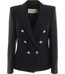 gold tone button double-breasted blazer
