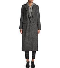 notch lapel wool-blend coat
