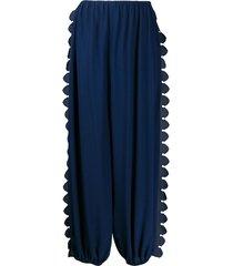stella mccartney shaped-edge baggy trousers - blue
