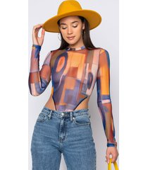 akira made to slay long sleeve mesh bodysuit