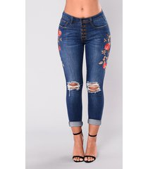 women denim skinny embroided flowers pants stretch jeans floral pencil trousers
