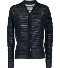 roberto collina ribbed knit collared cardigan - blue