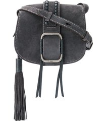 ba & sh teddy buckled crossbody bag - grey
