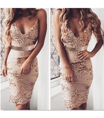 women's rosegold sequins dress sleeveless backless bodycon club party mini dress
