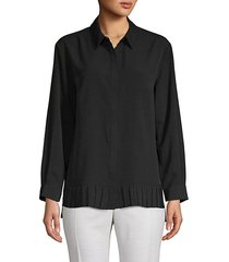 pleated high-low button-down shirt