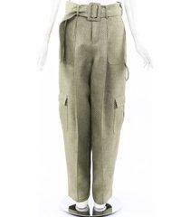 rosie assoulin 2019 glitter polka dot belted cargo pants green sz: l